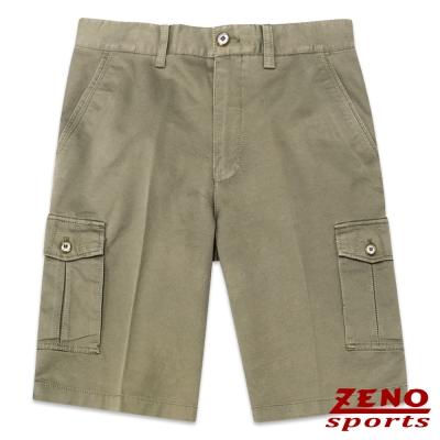 ZENO 水洗質感設計織紋休閒短褲‧橄欖綠30~42