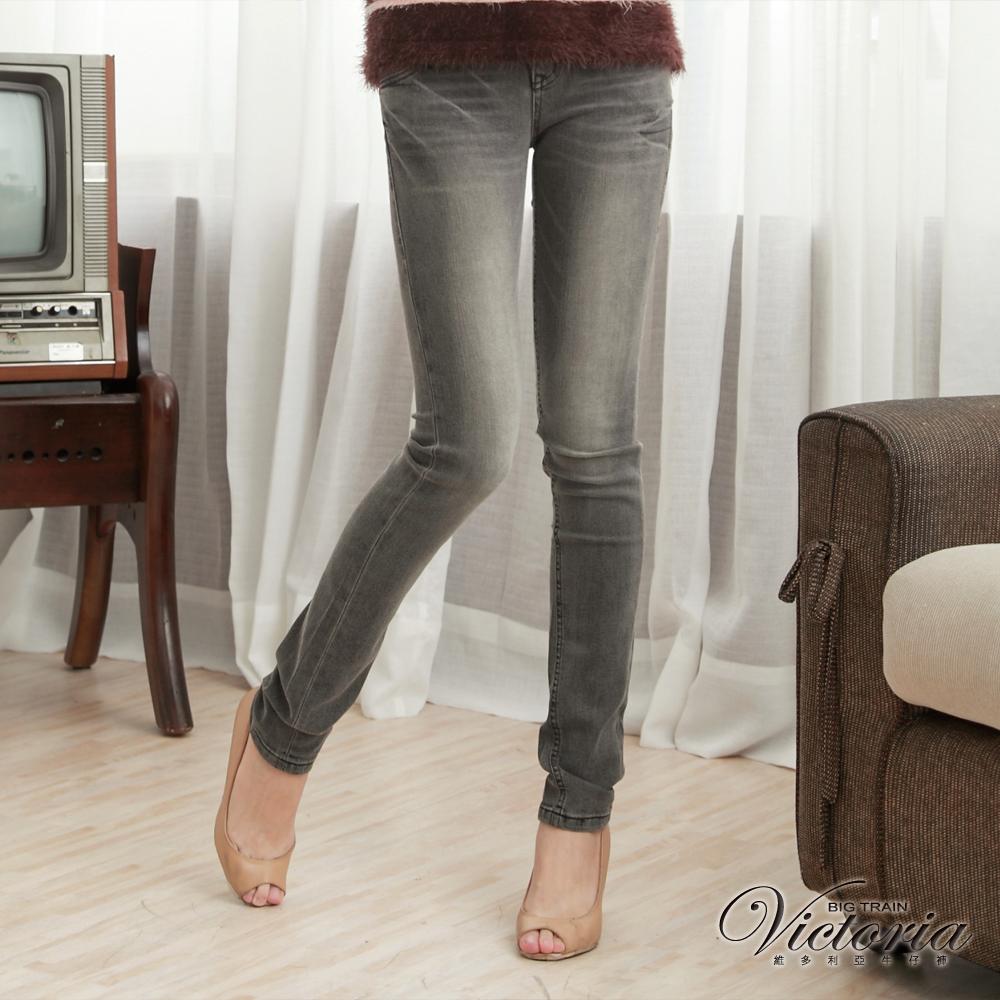 Victoria 豹紋繡燙鑽窄直筒褲-女-灰