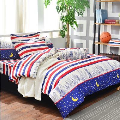 Goelia 城市夜空 單人 活性印染超細纖 全鋪棉床包兩用被三件組