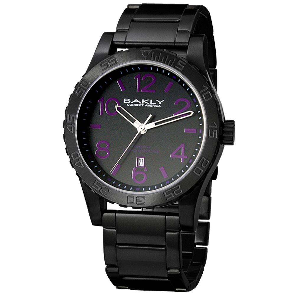 BAKLY 撼動系列德意防衛軍數字腕錶IP黑x紫時標/44mm