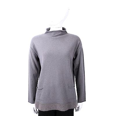 FABIANA FILIPPI 馬海毛捲邊立領灰色美麗諾羊毛衫