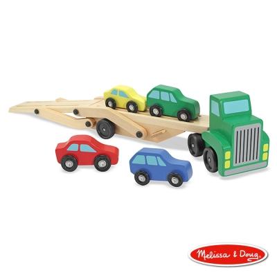 美國瑪莉莎 Melissa & Doug-木製交通工具 - 雙層運輸車