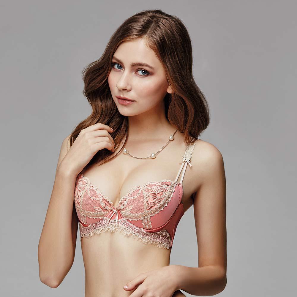 La Felino-紐約玫瑰3/4絲棉剪接款B-E罩杯內衣(泡糖粉)