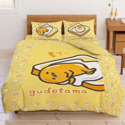吐司蛋黃哥 短毛精絲絨系列-雙人床包被套組