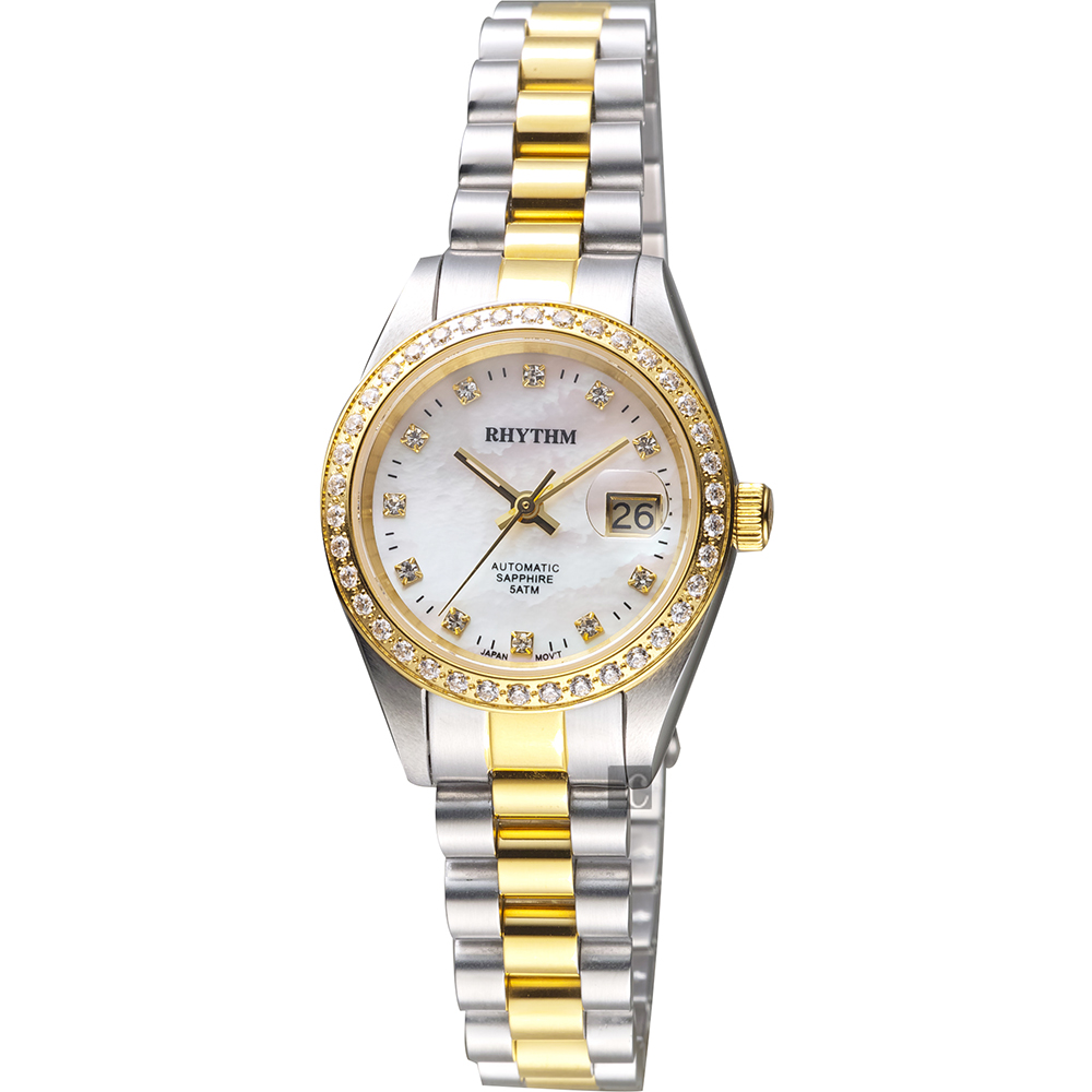 RHYTHM日本麗聲 優雅晶鑽機械日期女錶-珍珠貝x雙色/28mm