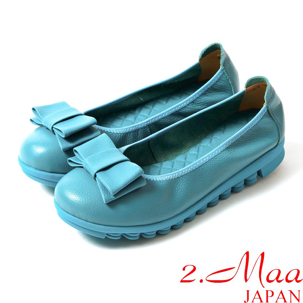 2.Maa 真皮系列頂尖時尚甜美蝴蝶結素面休閒包鞋-經典藍