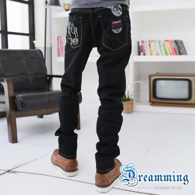 Dreamming-字母拼接布章後口袋伸縮小直筒牛仔褲-黑色