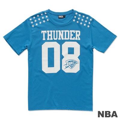 NBA-奧克拉荷馬雷霆隊星星印肩短袖T恤-淺藍(男)