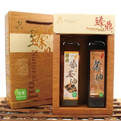 【蔥媽媽嚴選】頂級冷壓苦茶油x1+水飛工法白芝麻油x1(500ml/瓶/禮盒)