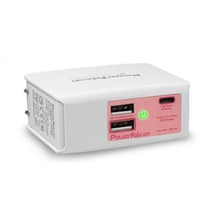 PowerFalcon 1+1(USB-C)+1(QC2.0) USB 旅充/電源充電 粉
