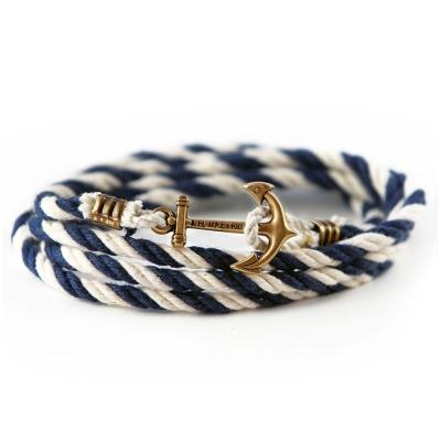 Kiel James Patrick 美國手工船錨棉麻繩多圈手環 深色藍白纏繞編織