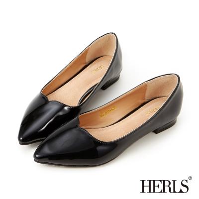 HERLS-內真皮流線亮面平底鞋-黑色