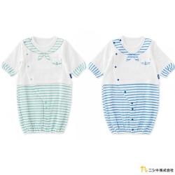 Nishiki 日本株式會社 兩穿式綠藍塗鴉水手領細條紋長袖連身衣
