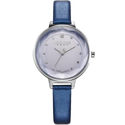 JULIUS聚利時 濃情時刻水鑽刻度皮錶帶腕錶-藍/32mm