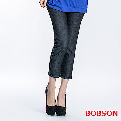 BOBSON 女款高腰緊身七分牛仔褲