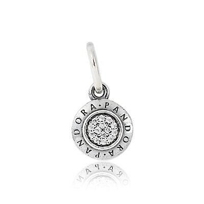 Pandora 潘朵拉 魅力Pandora鑲鋯標誌 垂墜純銀墜飾 串珠