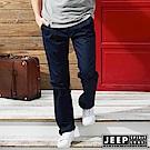 JEEP 完美修身素面休閒長褲-深藍色