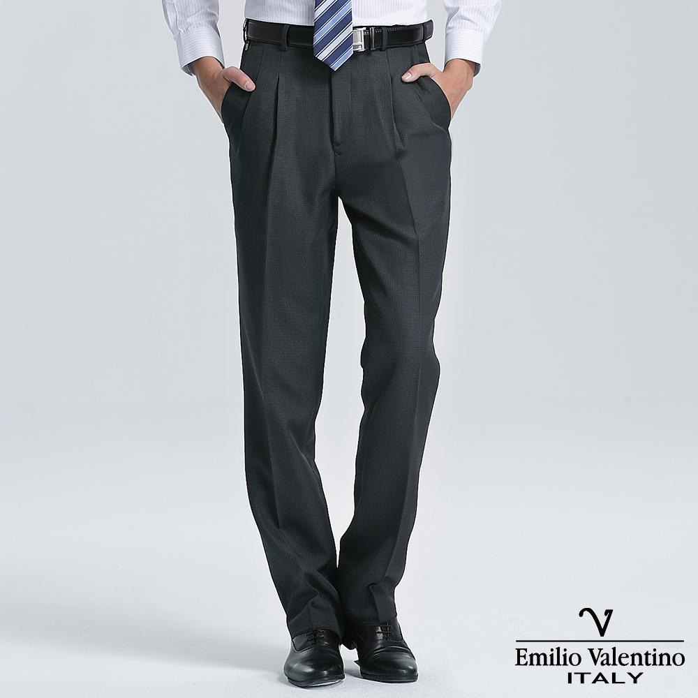 Emilio Valentino 范倫提諾經典紋理打摺西褲-深灰