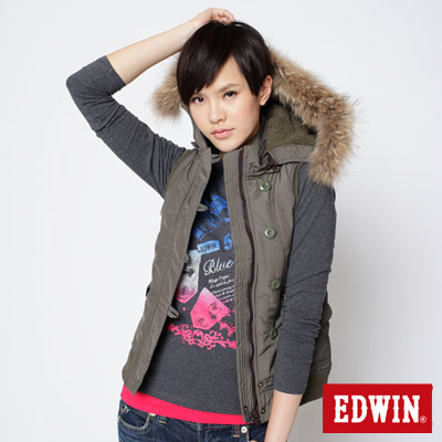 EDWIN-溫暖舒適毛呢防寒背心-女款-墨綠