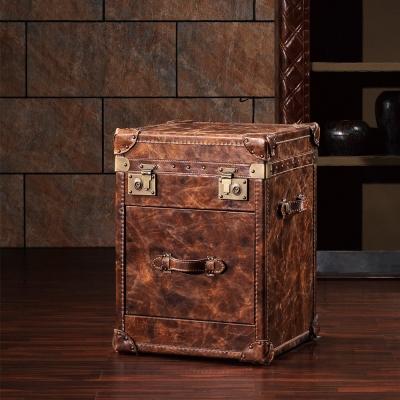 MUSE - Ernest特復古工業風牛皮收藏箱/床頭箱
