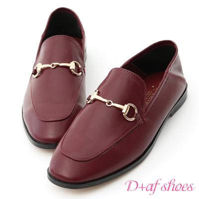 D+AF 上質品味.馬銜釦後踩式二穿紳士便鞋*酒紅