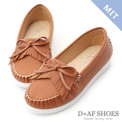D+AF 自在樂活.MIT斜流蘇白底莫卡辛鞋*棕