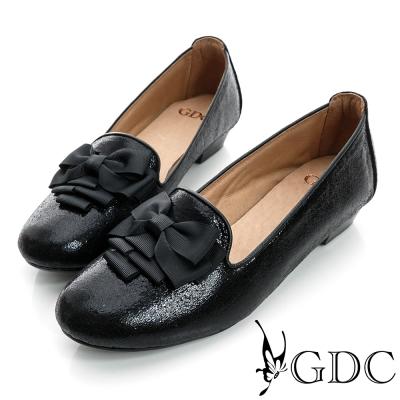 GDC復古-蝴蝶亮片樂福真皮低跟鞋-黑色