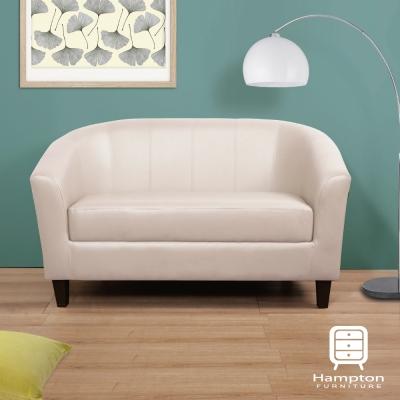 漢妮Hampton莫里斯皮面雙人椅-白色-咖啡腳