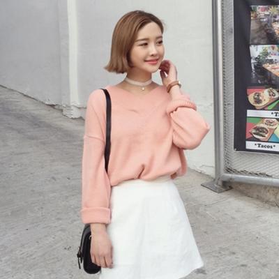 韓系-素色-領針織寬版造型上衣-共四色-SZstory