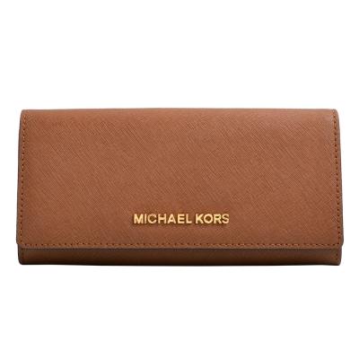 MICHAEL KORS JET SET TRAVEL金字Logo防刮皮革釦式長夾-深咖
