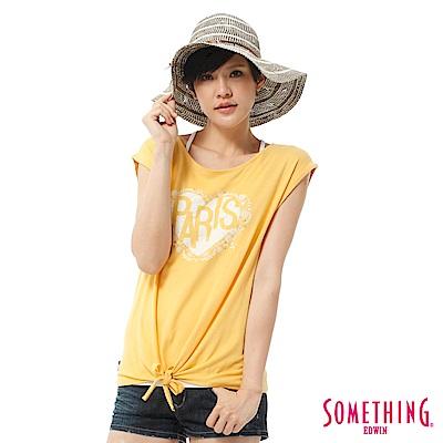 SOMETHING T恤 活力女孩愛心綁結寬T-女-黃色