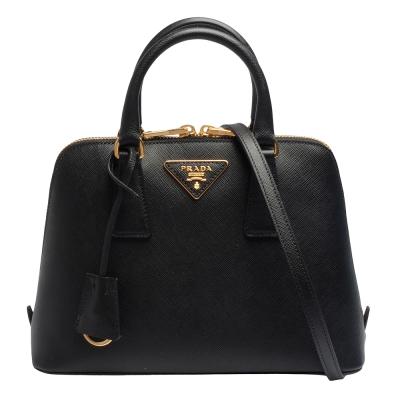 PRADA Saffiano Lux三角LOGO防刮牛皮三層拉鍊手提/斜背包(小-黑色)
