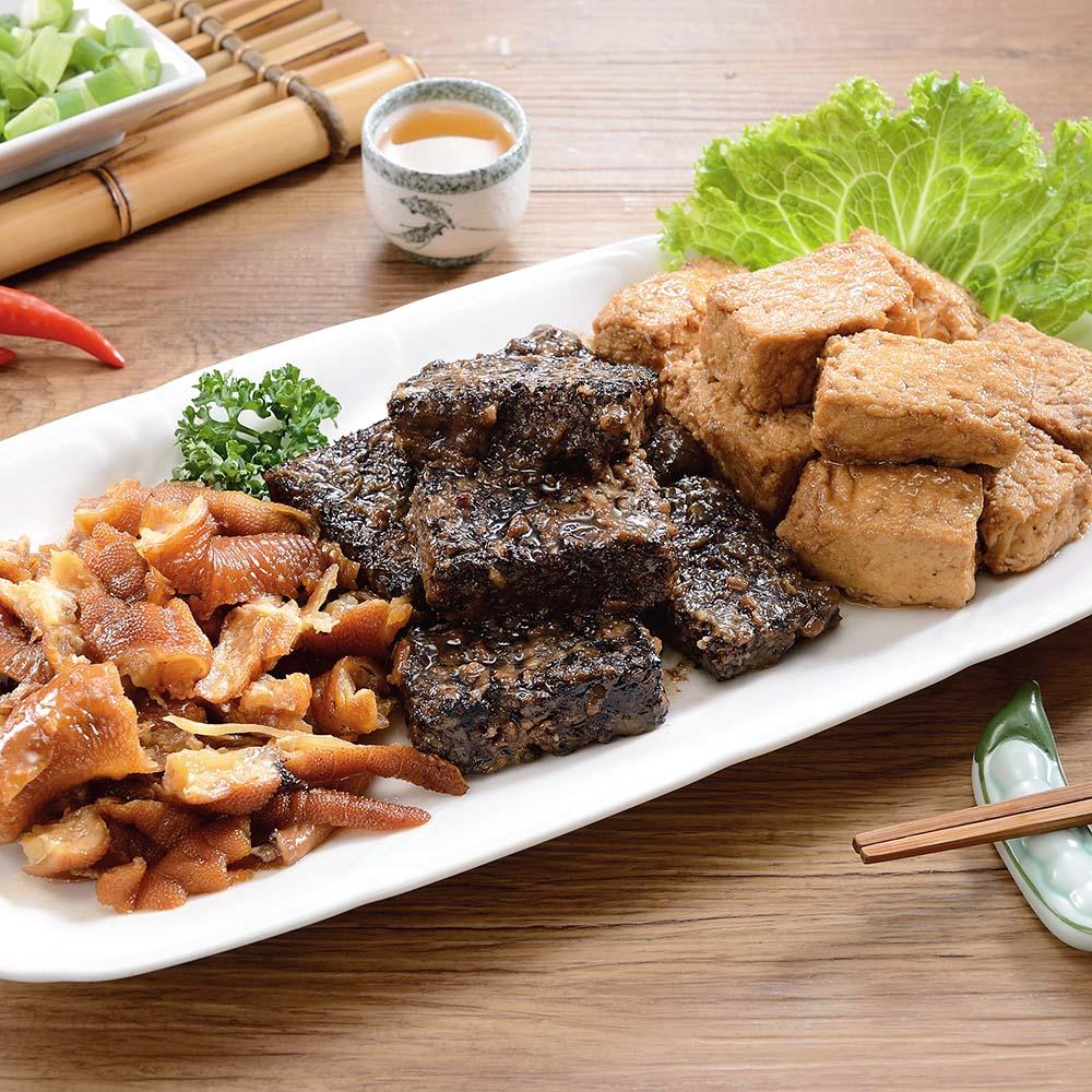 江家 無骨鳳爪滷味組(無骨鳳爪、醬燒千層干、醬燒米血) (2組)