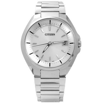 CITIZEN 歐風簡約電波光動能鈦金屬手錶(CB3010-57A)-銀色/42mm