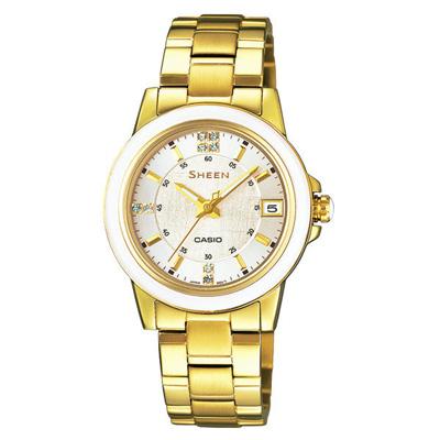 CASIO SHEEN系列 極簡典雅水晶鑽錶-白X金-30mm