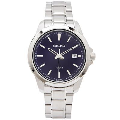SEIKO 雅致時尚款男性手錶(SUR153P1)-藍面X銀色/42mm