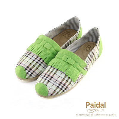 paidal 英倫格紋流蘇舒適懶人鞋樂福鞋-綠色
