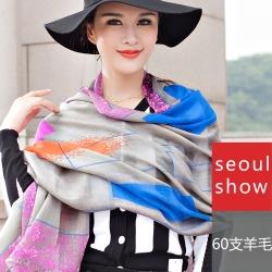 Seoul Show 普普條格純羊毛圍巾披肩2色  灰彩色