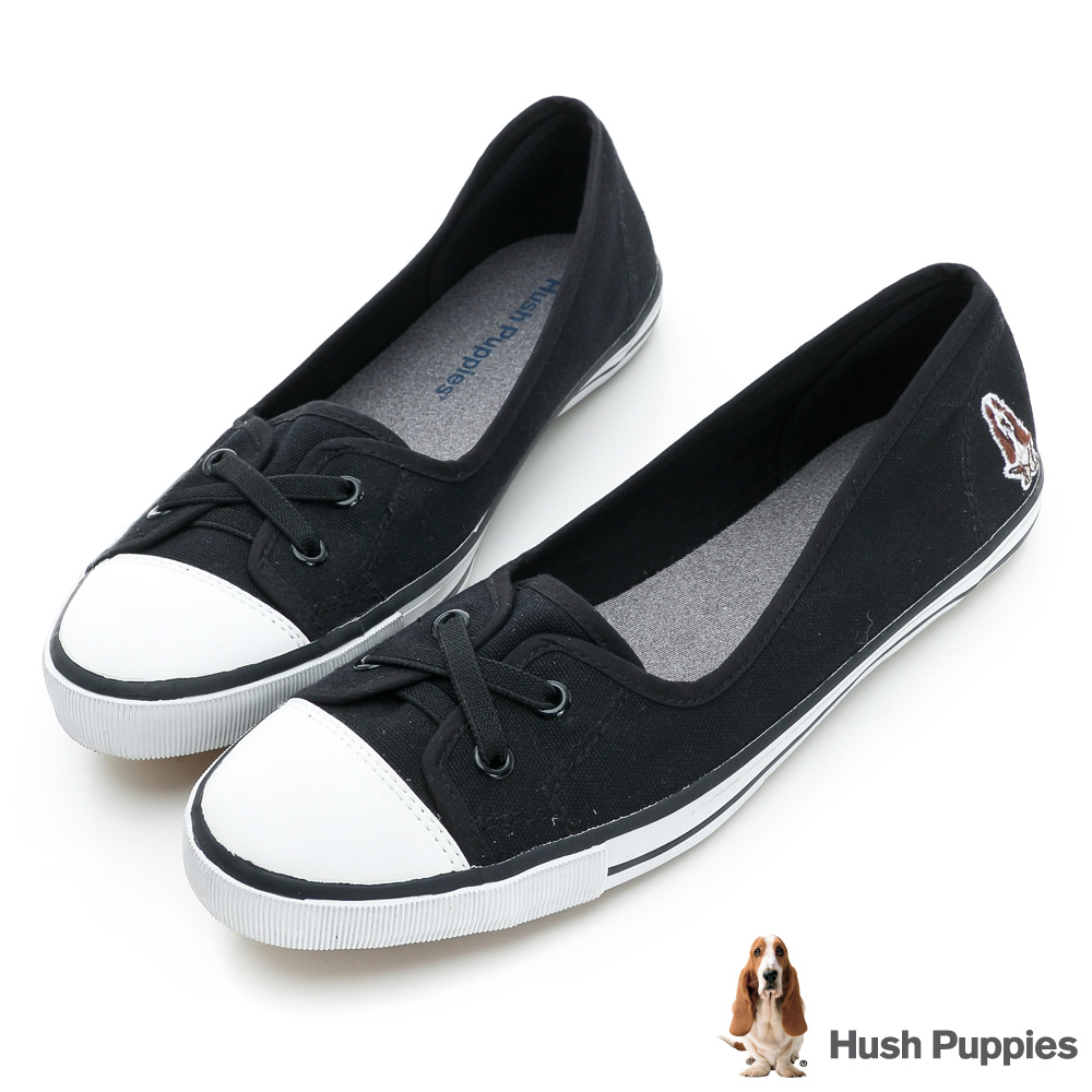 Hush Puppies 熱銷基本款★咖啡紗娃娃鞋-黑