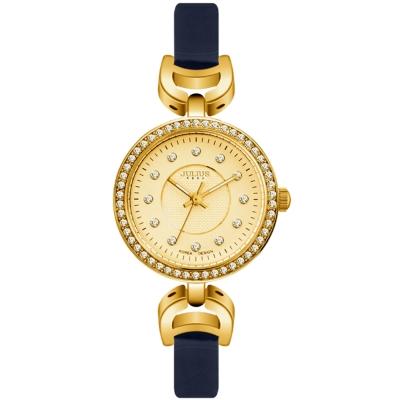 JULIUS聚利時 宮廷華服鑽飾復古皮錶帶腕錶-深藍/27mm