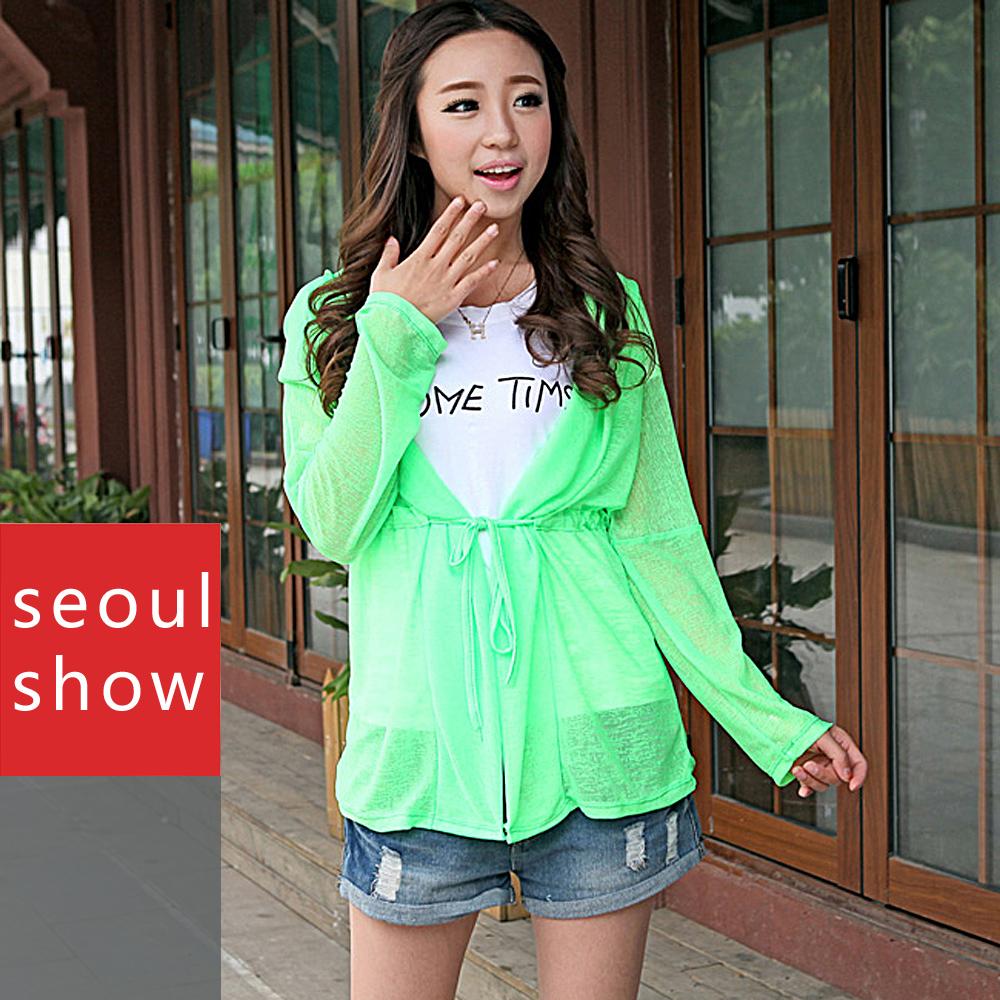 Seoul Show 秋冬連帽百搭罩衫運動路跑防曬外套 螢光綠