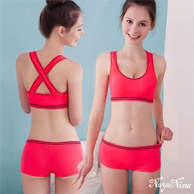 平口褲 撞色條紋低腰內褲S-XL(桃粉) Naya Nina