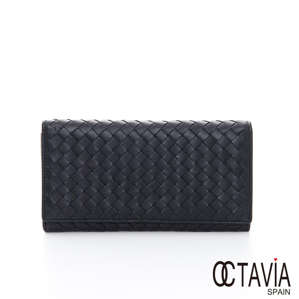 OCTAVIA 8 真皮  - 德瑞克編織 兩折簡約牛皮長夾 - 氣質黑