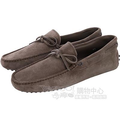 TOD'S 可可棕麂皮綁帶豆豆休閒鞋(男)