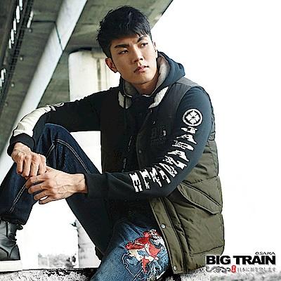 BIG TRAIN 加大海波文字開襟厚帽T-男-黑色