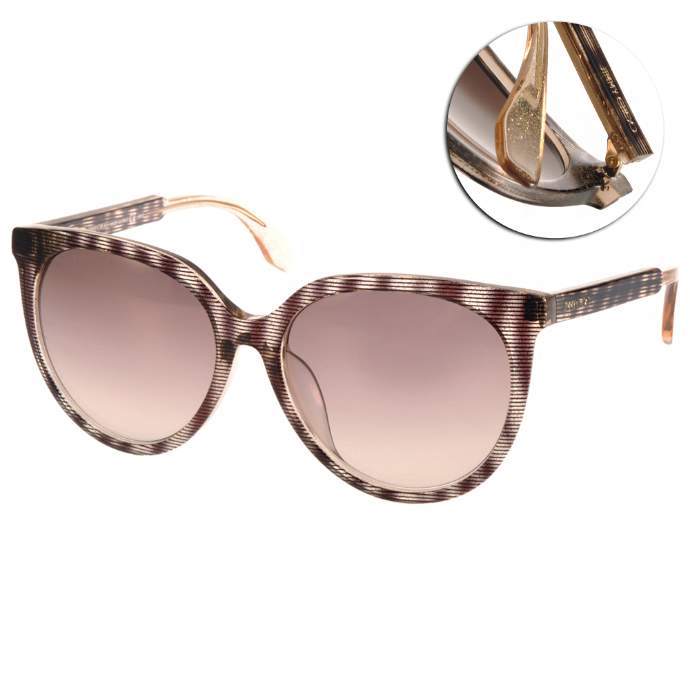 Jimmy Choo太陽眼鏡 典雅貓眼款/條紋棕#REECEFS LXA
