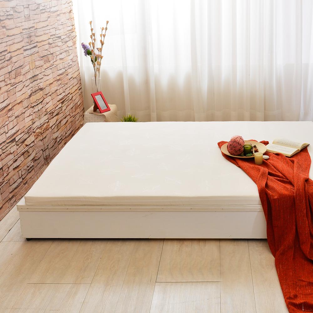 加大6尺-LooCa 法國Greenfisrt天然防蹣防蚊5cm乳膠床枕組-白