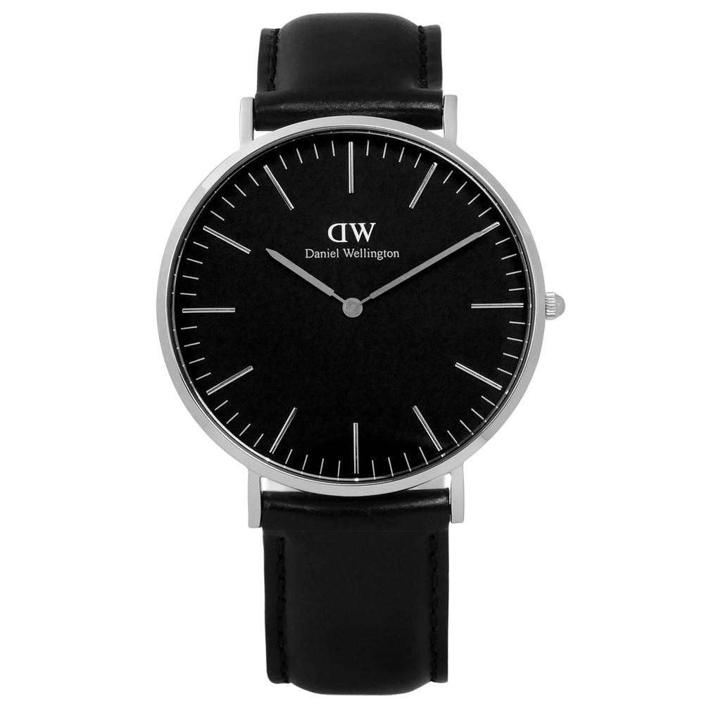 DW Daniel Wellington Classic旗艦真皮手錶-黑色/40mm