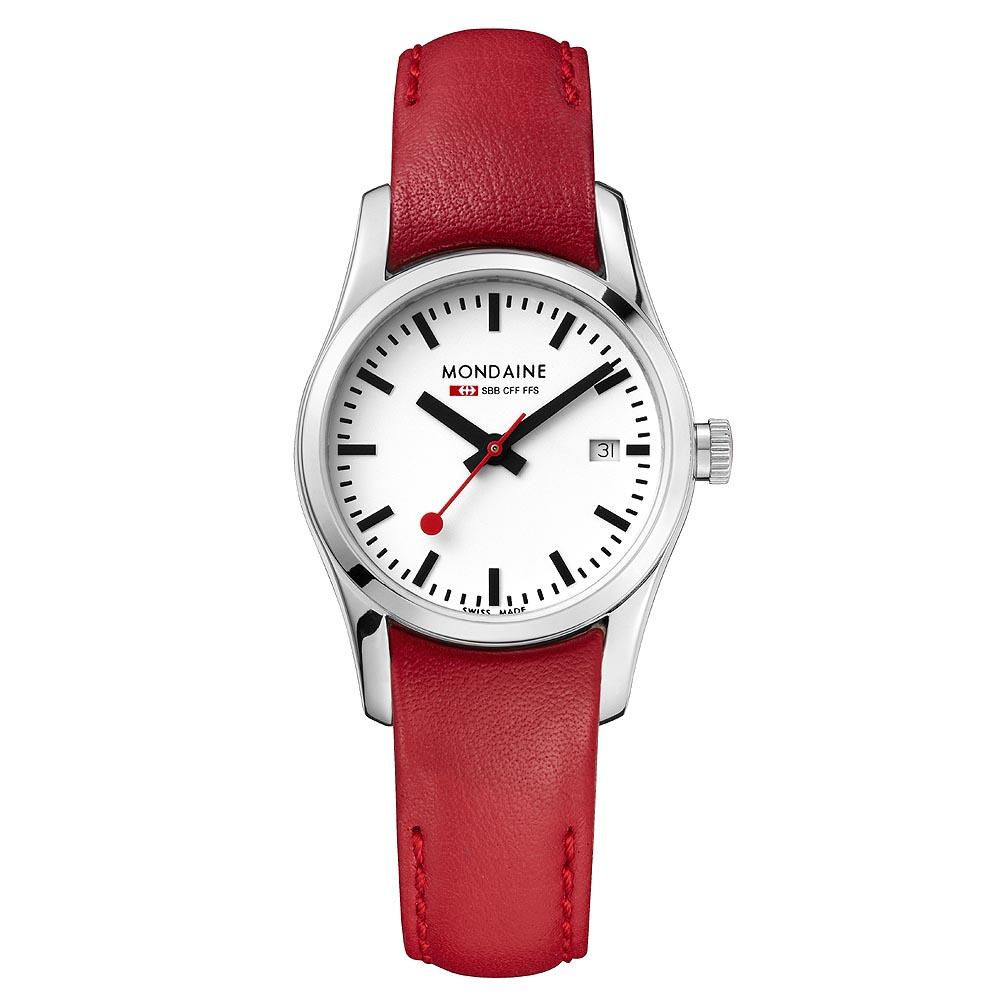 MONDAINE 瑞士國鐵藍寶石水晶女錶-紅/28mm