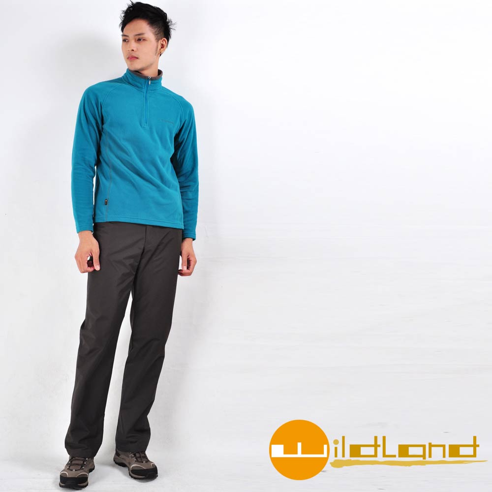 【Wildland 荒野】W2302 男防風防潑水保暖長褲 (深鐵灰)